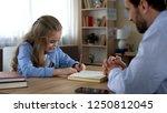 smart daughter writing in... | Shutterstock . vector #1250812045