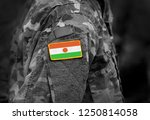 flag of niger on soldiers arm.... | Shutterstock . vector #1250814058
