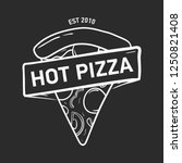 trendy logo with pizza slice... | Shutterstock .eps vector #1250821408