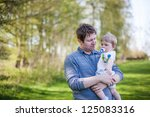 young father and sweet baby boy ... | Shutterstock . vector #125083316