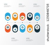 multimedia icons colored line... | Shutterstock .eps vector #1250848735