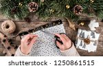 female hands wrapping a... | Shutterstock . vector #1250861515