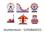flat vector set of amusement... | Shutterstock .eps vector #1250864422