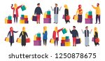 muslim shopping women and men... | Shutterstock .eps vector #1250878675