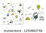 cat superhero. surface design... | Shutterstock .eps vector #1250883748
