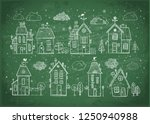 cute doodle houses on... | Shutterstock .eps vector #1250940988
