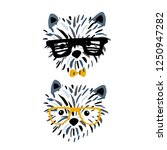 cute dog in glasses ink drawn... | Shutterstock .eps vector #1250947282