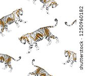 tiger pattern and repeating... | Shutterstock .eps vector #1250960182