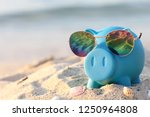 blue piggy bank with sunglasses ... | Shutterstock . vector #1250964808