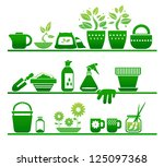 shelves with gardening stuff | Shutterstock .eps vector #125097368
