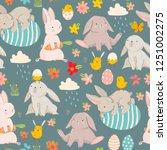 happy easter  various eggs ... | Shutterstock .eps vector #1251002275