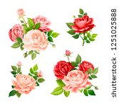 set of beautiful bouquets... | Shutterstock .eps vector #1251025888