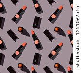 seamless vibrant lipstick...   Shutterstock . vector #1251062515