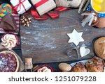 christmasl ingredients around... | Shutterstock . vector #1251079228