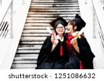 asian students wearing a... | Shutterstock . vector #1251086632