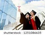 asian students wearing a... | Shutterstock . vector #1251086635