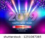2019 happy new year design... | Shutterstock .eps vector #1251087385