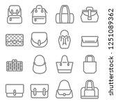 bag type vector line icon set.... | Shutterstock .eps vector #1251089362