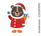 isolated cute bear is dressed...   Shutterstock .eps vector #1251095092