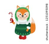 isolated cute fox is dressed in ... | Shutterstock .eps vector #1251095098