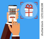 hand holding smartphone with qr ... | Shutterstock . vector #1251106108
