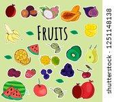 stickers  fruits  greens ... | Shutterstock .eps vector #1251148138