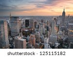 new york city skyline aerial... | Shutterstock . vector #125115182