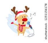 reindeer singing christmas song ...   Shutterstock .eps vector #1251156178