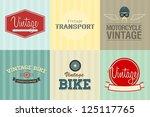 vector set of six vintage...