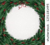 christmas wreath of tree... | Shutterstock .eps vector #1251181495