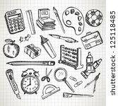 set of hand drawn school... | Shutterstock .eps vector #125118485