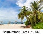 wooden sunbed and umbrella on...   Shutterstock . vector #1251190432