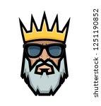bearded king wearing sunglasses.... | Shutterstock .eps vector #1251190852