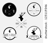 vintage stamp set with deer | Shutterstock .eps vector #125119346