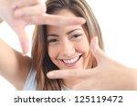 beautiful woman framing her... | Shutterstock . vector #125119472