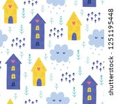 seamless christmas pattern.... | Shutterstock .eps vector #1251195448