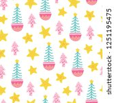 seamless christmas pattern.... | Shutterstock .eps vector #1251195475