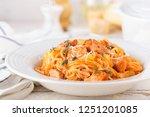 spaghetti bolognese pasta with...   Shutterstock . vector #1251201085