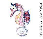 illustrations of sea horse.... | Shutterstock . vector #1251211558