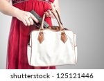 white woman in a red dress... | Shutterstock . vector #125121446