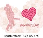 valentines day card with a... | Shutterstock .eps vector #125122475