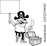 black and white illustration of ... | Shutterstock . vector #1251274435