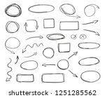 hand drawn symbols on isolated... | Shutterstock .eps vector #1251285562