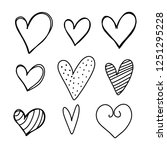 set of six hand drawn hearts. | Shutterstock .eps vector #1251295228