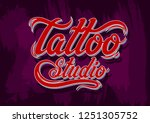 graphic hand drawn red tattoo... | Shutterstock .eps vector #1251305752
