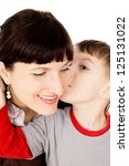 a small child kissed my mother... | Shutterstock . vector #125131022