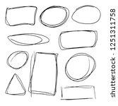 doodle set of black hand drawn... | Shutterstock .eps vector #1251311758