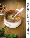 homemade vegetable soup with... | Shutterstock . vector #1251334228