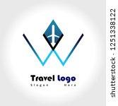 letter w travel logo   Shutterstock .eps vector #1251338122