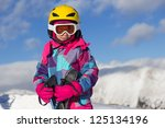 Girl ski on the mountain - stock photo